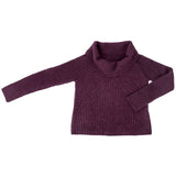 Women's burgundy alpaca cowl neck sweater