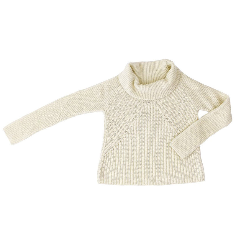 Women's cream alpaca cowl neck sweater