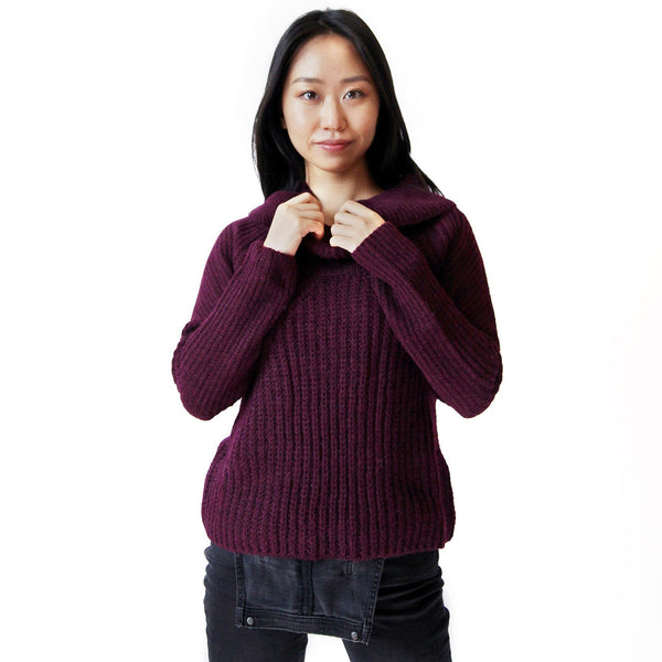 Woman wearing Burgundy Alpaca Ribbed Cowl Neck Sweater - Stick & Ball