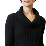 Woman wearing black alpaca cowl neck sweater close up