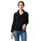 Woman wearing black  alpaca cowl neck sweater