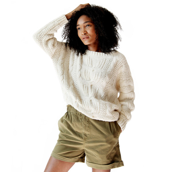 Woman wearing Cream Alpaca Sarah Cable Knit Sweater - Stick & Ball