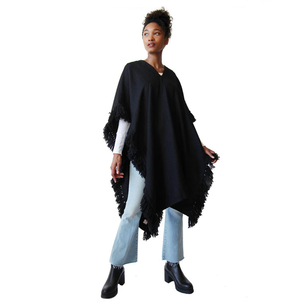 Long Fringed Alpaca Poncho - Black