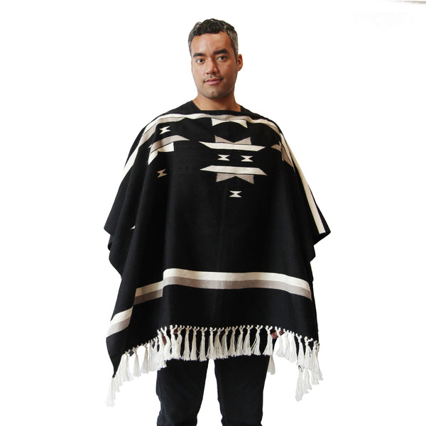Man wearing Handwoven Unisex Starburst Alpaca Poncho with tassels - Stick & Ball