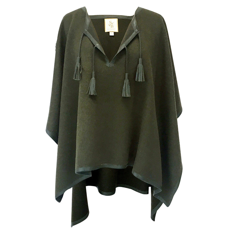 Italian Leather Trim Tassel Alpaca Poncho - Olive - Stick & Ball