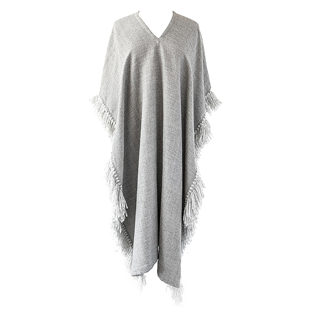 Alpaca Poncho-Long Fringed Poncho - Light Grey-Stick & Ball