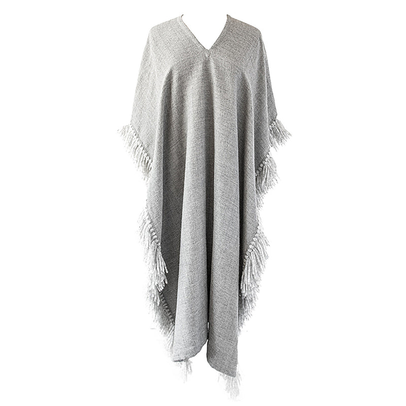 Handwoven Long Fringed Alpaca Poncho in Light Grey - Stick & Ball