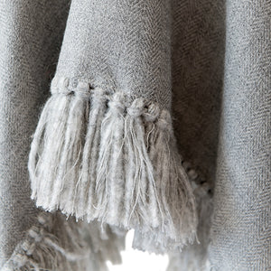 Cropped Fringe Poncho - Light Grey