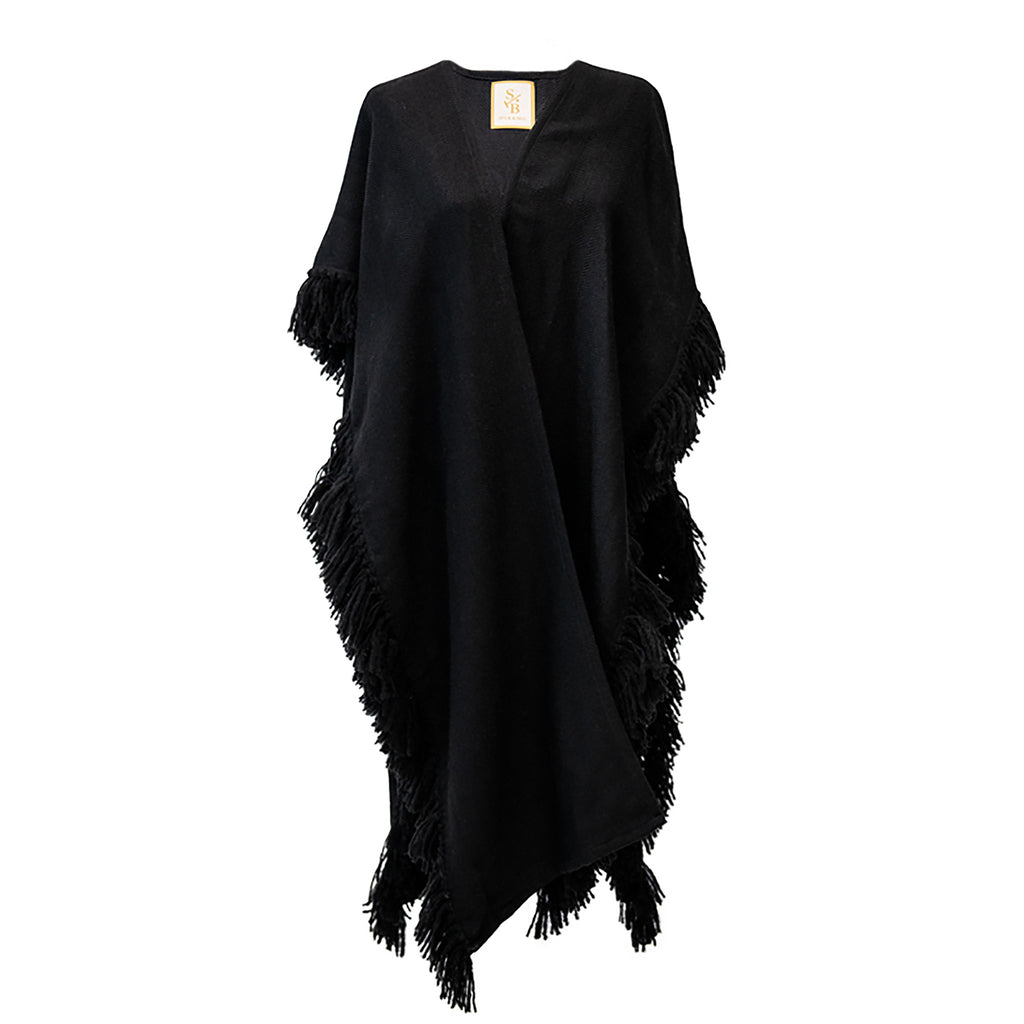 Black Handwoven Alpaca Fringed Ruana Wrap - Stick & Ball
