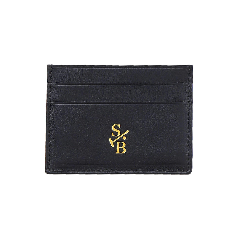 Handmade Vegetable-tanned Italian Leather Single Sided Flat Wallet - Black - Stick & Ball