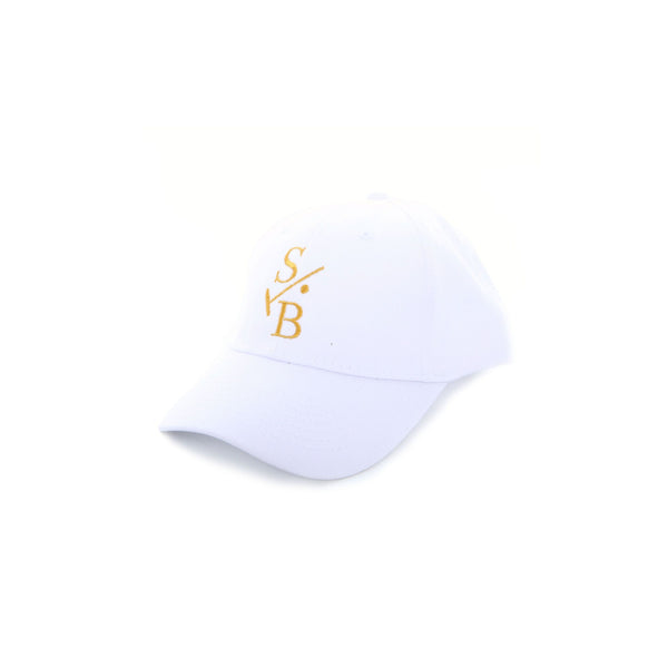 Embroidered Baseball Cap in White with Stick & Ball logo in Gold