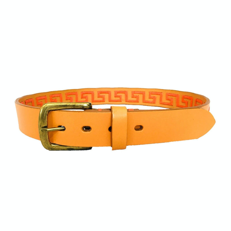 Hand-stitched Argentine Inca Polo Belt - Orange leather with Coral Stitch - Stick & Ball