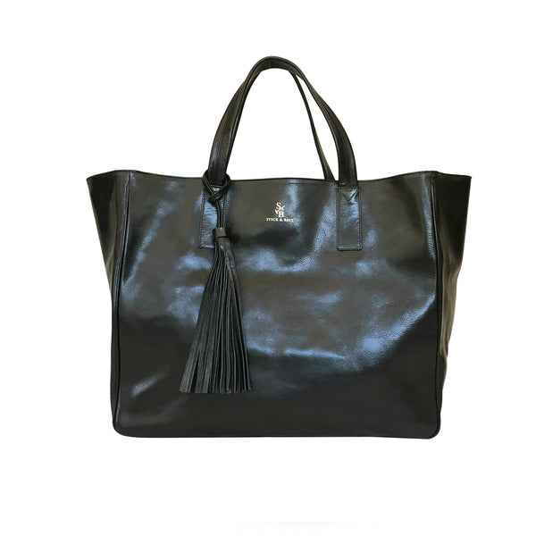 Handmade vegetable-tanned Italian leather Wellington Weekender Tote - Black - Stick & Ball