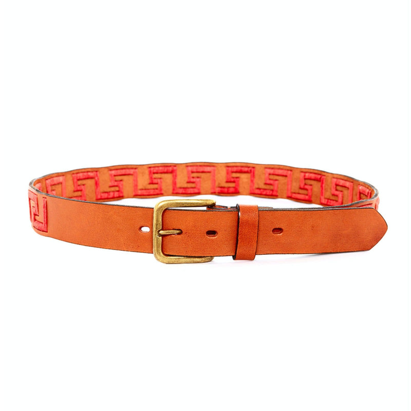 Hand-stitched Argentine Inca Polo Belt - Tan leather with Coral Stitch - Stick & Ball