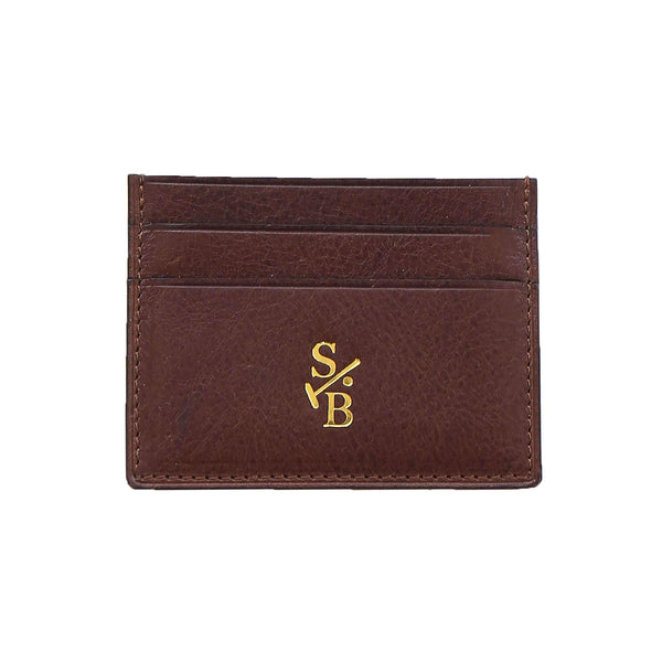 Handmade Vegetable-tanned Italian Leather Double Sided Flat Wallet - Brown - Stick & Ball