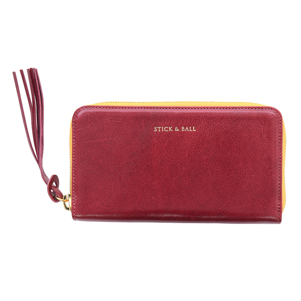 Handmade Vegetable-tanned Italian Leather Zip/Clutch Wallet in Burgundy - Stick & Ball