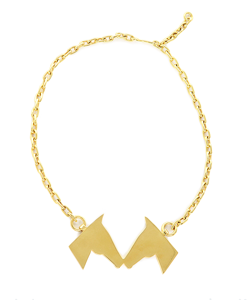 "Gold Caballos Besando""Horses Kissing"" Necklace"
