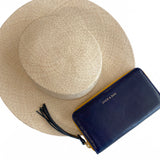 Vegetable-tanned Italian Leather Zip/Clutch Wallet in Navy, with Noosa Straw Hat - Stick & Ball