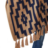 Pattern details of Handwoven Gaucho Pampa Alpaca Poncho in Tan & Navy with tassels - Stick & Ball
