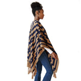 Side view of Woman wearing Handwoven Gaucho Pampa Alpaca Poncho in Tan & Navy - Stick & Ball