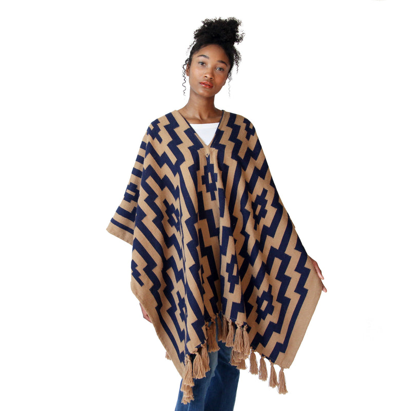 Woman wearing Handwoven Gaucho Pampa Alpaca Poncho with tassels - Tan & Navy - Stick & Ball
