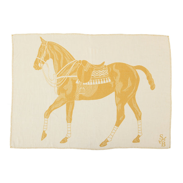 Jacquard-loomed Polo Pony Alpaca Throw Blanket - Gold - Stick & Ball