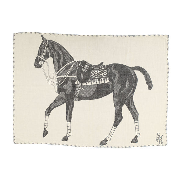 Jacquard-loomed Polo Pony Alpaca Throw Blanket - Charcoal - Stick & Ball