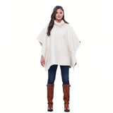 Woman wearing Reversible Knit Collar Alpaca Poncho in Cream & Camel - both colors - Stick & Ball