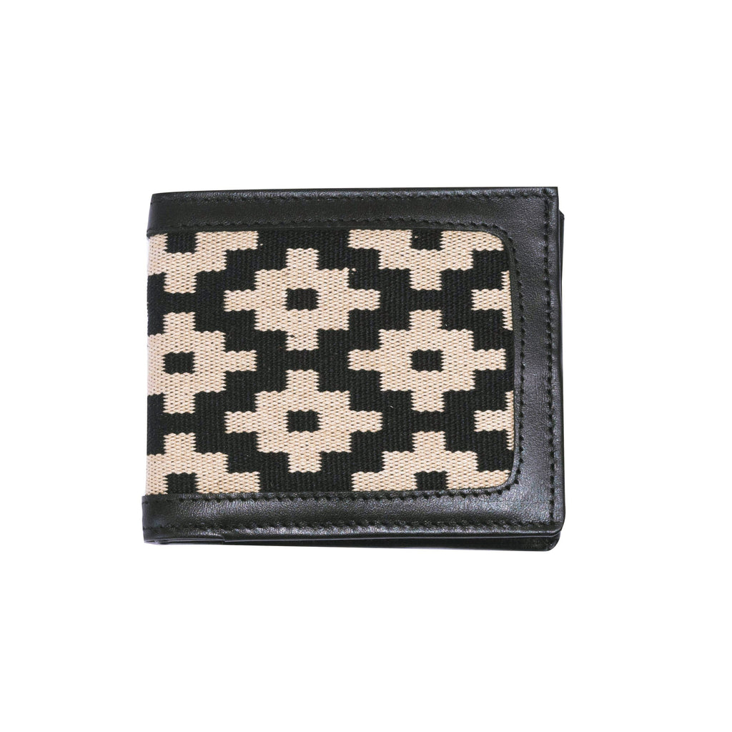 Men's Leather and Woven Wallet - Black