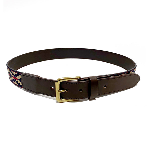 Stick & Ball Cinta Pampa Polo Belt featuring vegetable tanned leather, tri-color weave and solid brass buckle - front view