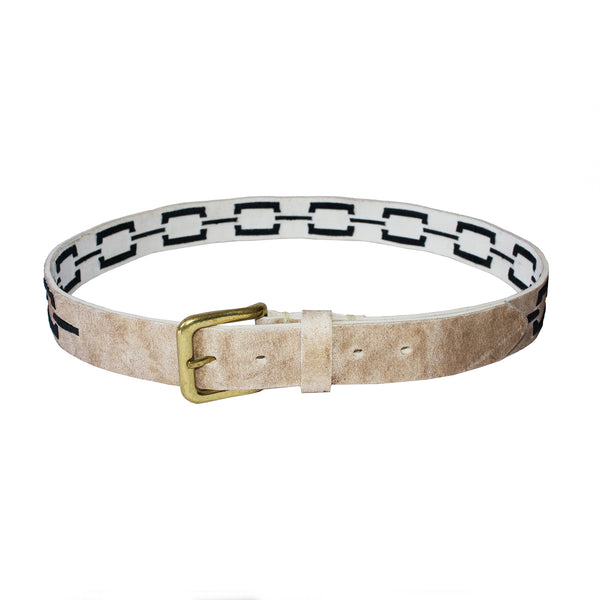 Stick & Ball unisex Correntino Polo Belt in Rawhide with hand-stitched design in black - front view