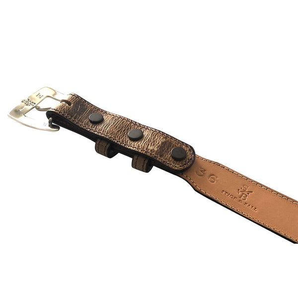 Stick & Ball unisex designer tapered tan goat belt - interior view of sterling silver interchangeable buckle