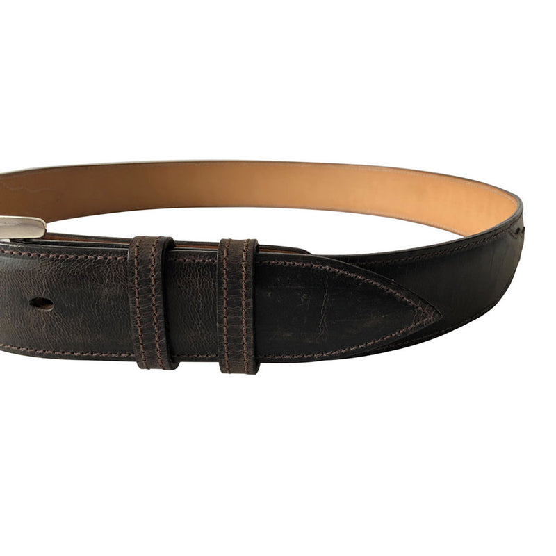Stick & Ball Unisex Wide Chocolate Goat Designer Belt - front view of belt tongue