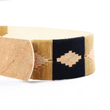 Stick & Ball women's Rawhide Pampa Belt with navy & tan stitch - detail view of hand stitched pampa pattern