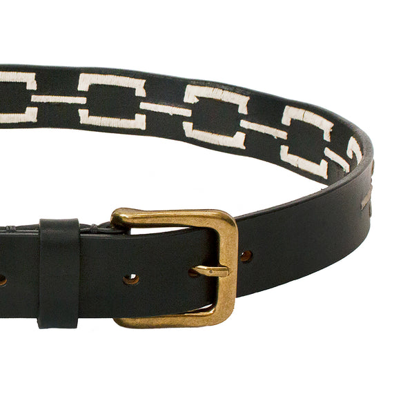 Stick & Ball Unisex Correntino Polo Belt in Black with hand-stitched design in ivory and solid brass buckle