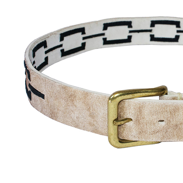 Stick & Ball unisex Correntino Polo Belt in Rawhide with hand-stitched design in black and solid brass buckle - front view