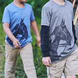 Boys wearing Tobiana Horse Head T-shirts in Blue & Grey - Stick & Ball