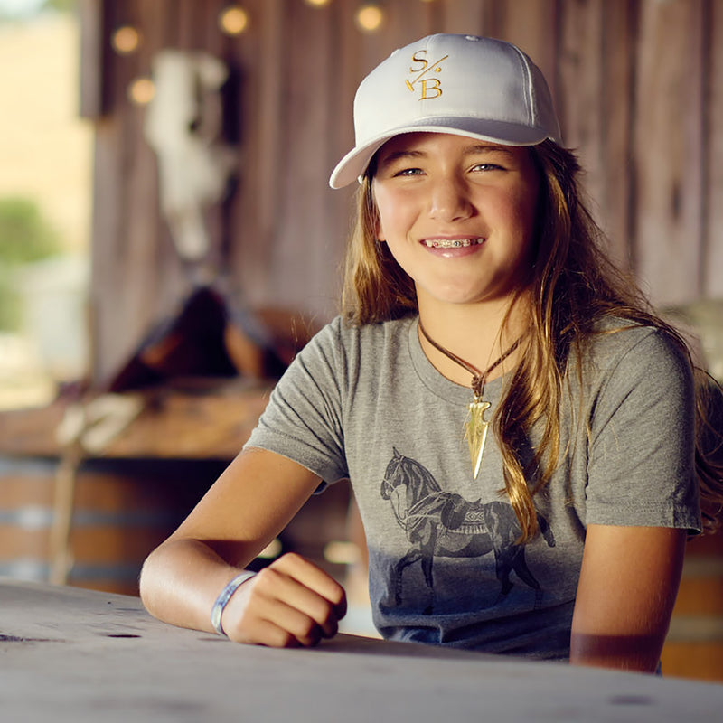 Girl wearing Kid's Polo Pony T-shirt in Grey with Embroidered Baseball Cap in white - Stick & Ball