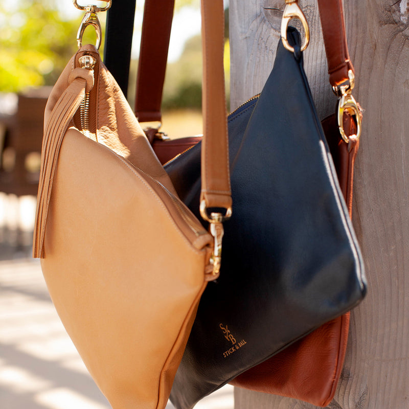 Handmade Vegetable-tanned deerskin leather Indio Crossbody Bag in Tan, Black, Brown - Stick & Ball