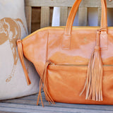Handcrafted Vegetable-tanned Italian Leather Palermo Soho Tote in Tan & Polo Pony Pillow in gold