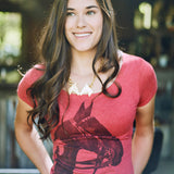 Woman wearing Women's Tobiana Horse Head T-shirt - Red - Stick & Ball