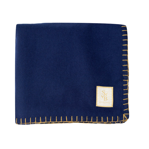 Loom & hand-stitched Navy Alpaca Throw with Gold Stitch - Stick & Ball