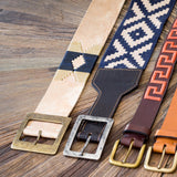 Women's Rawhide Leather & Woven Pampa belts - Stick & Ball