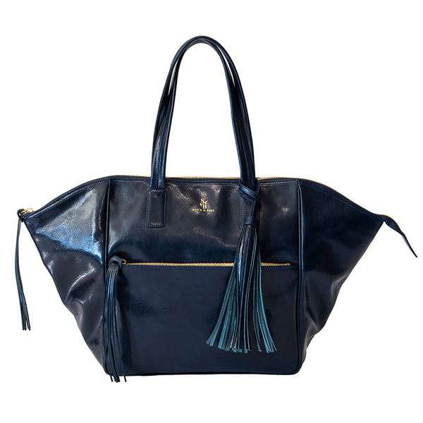 Handcrafted Vegetable-tanned Italian Leather Palermo Soho Tote - Navy - Stick & Ball