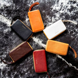 Circle of vegetable-tanned leather Zip/Clutch wallets, Orange, White, Tan, Burgundy, Espresso, Black