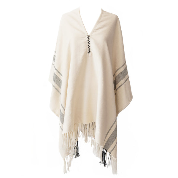 Handwoven Camilo Alpaca Poncho with Fringe - Stick & Ball