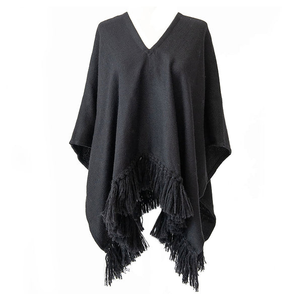 Handwoven Cropped Fringe Alpaca Poncho with fringe - Black - Stick & Ball