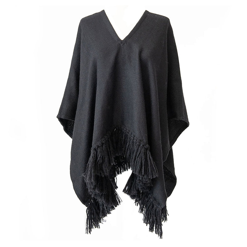 Handwoven Cropped Fringe Alpaca Poncho - Black - Stick & Ball