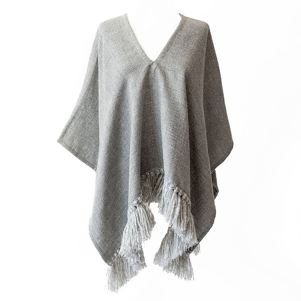 Handwoven Cropped Fringe Alpaca Poncho with fringe - Light Grey - Stick & Ball