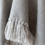 Herringbone hand-weave and hand-tied fringe from Cropped Fringe Alpaca Poncho - Light Grey